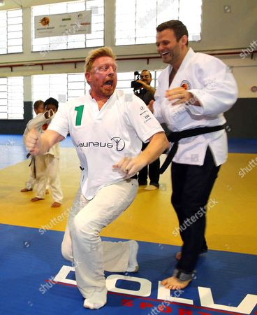Stock Photo of Boris Becker and Ole Bischof judo training