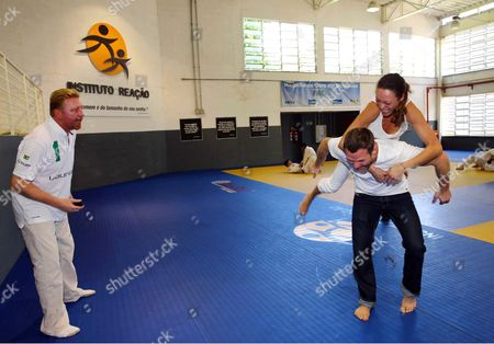 Boris Becker, Sharlely Lilly Kerssenberg and Ole Bischof judo training