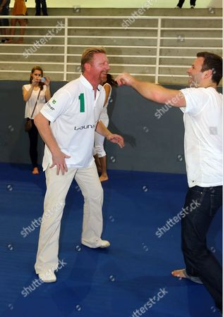 Boris Becker and Ole Bischof judo training
