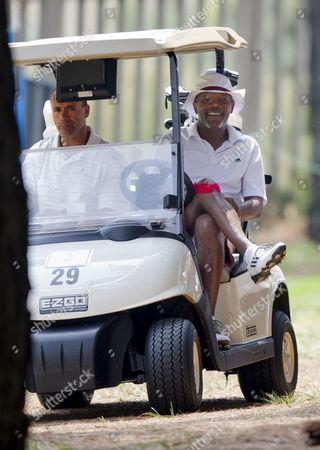 Stock Photo of Samuel L. Jackson and the Sunshine Tour's managing director, Selwyn Nathan