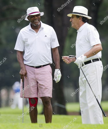 Stock Picture of Samuel L. Jackson and the Sunshine Tour's managing director, Selwyn Nathan