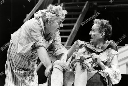 Stock Photo of 'The Relapse' play at the Chichester Festival Theatre, West Sussex - Harold Innocent (Sir Tunbelly Clumsey) and Richard Briers (Lord Foppington)