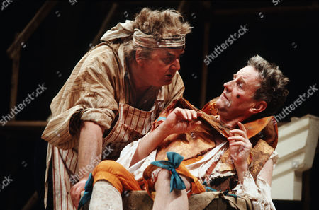 Stock Image of 'The Relapse' play at the Chichester Festival Theatre, West Sussex - Harold Innocent (Sir Tunbelly Clumsey) and Richard Briers (Lord Foppington)