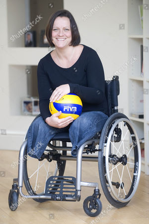 Stock Picture of Martine Wiltshire Who Was Involved In 7/7 In London And Lost Both Of Her Legs. She Is Now Taking Part In The Paraplegic Olympics In London Playing Volleyball.