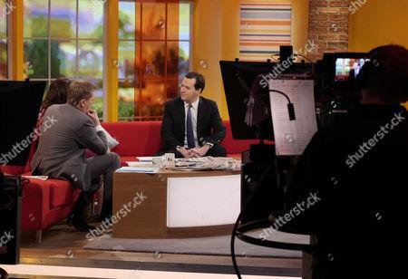 Aled Jones and Lorraine Kelly with George Osborne