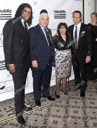 Raye Cosbert and Mitch Winehouse and Janis Winehouse