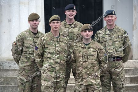 Lance Corporal Lawrence Kayser, The Royal Anglian Regiment; Captain Michael Dobbin, Grenadier Guards; Lance corporal Stephen Shaw, Royal Army medical Corp; Captain John Scarlett, Coldstream Guards, and Sergeant Roy Geddes, Royal Airforce, all recipients of the Military Cross