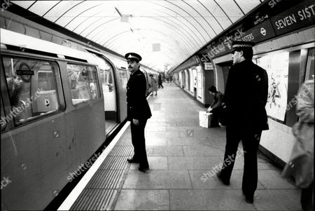 London Police : Pc Ian King (left) And Pc John Barrett Patrol Seven Sisters Underground Train Station.