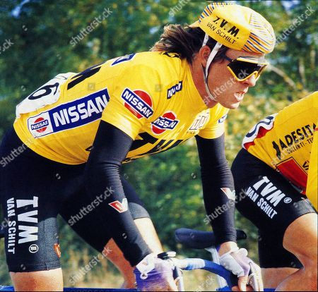 Stock Picture of Nissan International Classic Tour of Ireland 1988 Phil ANDERSON (Australia) TVM winner of stage 2 and 4. Shows PHIL ANDERSON (Aus) in Yellow Leaders Jersey. ( Photo John Pierce - original not returned from magazine).