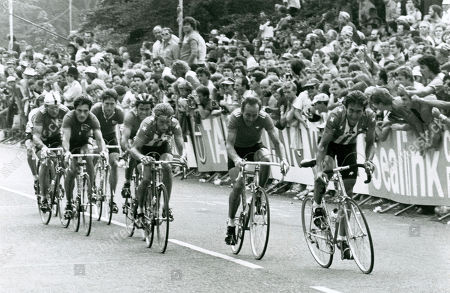 World Cycling Championships 1982 Goodwood Estate UK. Big break 1 lap to finish, from front Jonathan Boyer USA 10th, Joop Zoetemelk (Hol) 4th, Greg Lemond (USA) 2nd Stefan Mutter (SUI) 12th, Guiseppi Saronni (Ita) 1st, Jan Raas (Hol) 17th (was sick at 500m) Sean Kelly (Ire) 3rd and Klaus Peter Thaler 8th.
