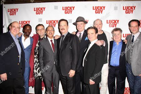 Cast of Lucky Guy - Stephen Tyrone Williams, George C Wolfe, Tom Hanks, Christopher McDonald, Peter Scolari, Michael Gaston, Danny Mastrogiorgio