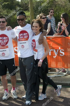 Editorial photo of The Sport Relief Mile Taking Place In Around Bucking Palace In London. Kara Tointon And Romeo Dunn. Picture David Parker 25/03/12.