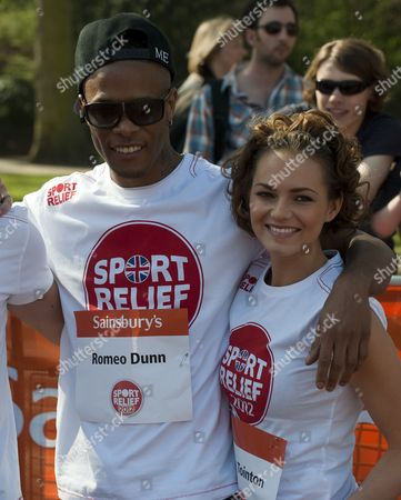 Stock Image of The Sport Relief Mile Taking Place In Around Buckingham Palace In London. Kara Tointon And Romeo Dunn. 25/03/12.