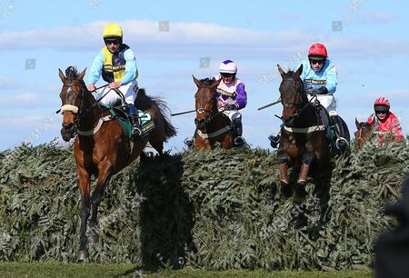 Oliver Greenall riding Cool Friend (left) clears the last as he leads but he misses out on victory to John Hamilton riding Tartan Snow (far right)