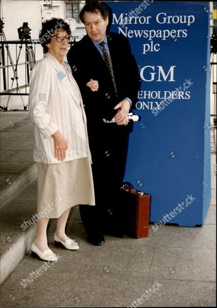 Marjorie Proops (dead November 1996) And Daily Mirror Editor Roy Greenslade At The Mirror Shareholders Meeting.