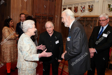 Queen Elizabeth II meets Christopher Lee