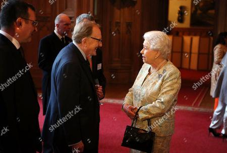 Queen Elizabeth II meets Robert Hardy