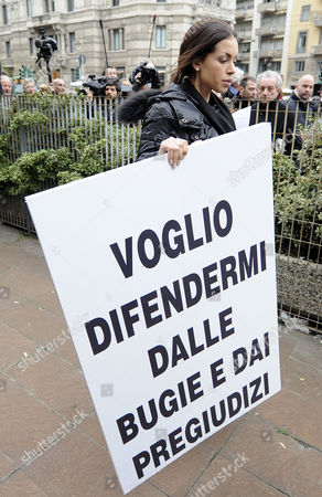 Editorial image of Ruby Rubacuori protests in Milan, Italy - 04 Apr 2013