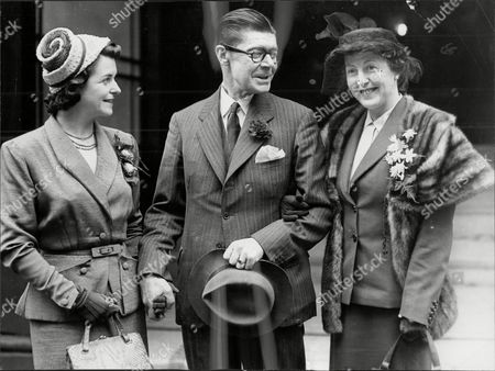 Wedding Of Radio Actor Denis Folwell Who Plays Jack Archer To Mrs Luna Burnell (right) Also Pictured Is His Radio Wife Actress June Spencer (left).