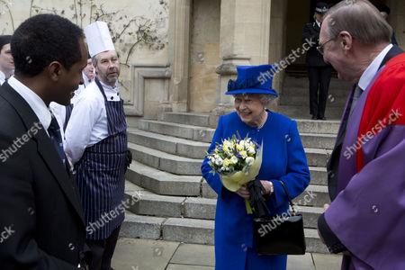 Queen Elizabeth II and Sir Derek Morris, Provost of Oriel College