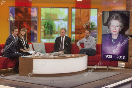 Presenters John Stapleton and Kate Garraway with Jonathan Aitken and Derek Hatton