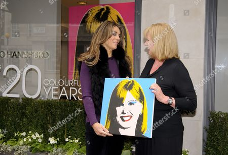 Editorial image of Elizabeth Hurley helps Jo Hansford celebrate the 20th anniversary of her salon, London, Britain   - 09 Apr 2013