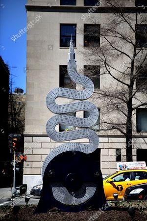 Alexandre Arrechea 'No Limits' sculpture installation on Park Avenue, Manhattan, New York, America - Chrysler building
