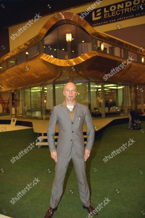 Daily Mail Ideal Home Exhibition 1998. Designer And Architect Nigel Coates Outside The Oyster House That He Has Designed For The Next Millennium.