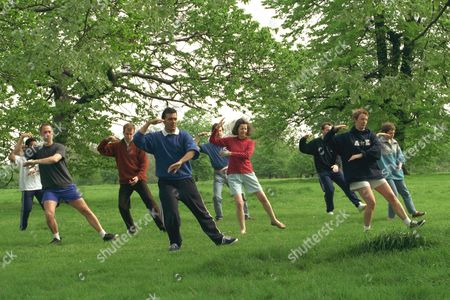 Mark Sheppard Photographed With His Tai Chi Class In Hyde Park. He Is Also Photographed With Writer Sonia Ducie (in Most Frames Wearing A Red Top) And On His Own.