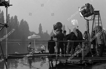 Stock Photo of Patrick Macnee and Ilona Rodgers, behind the scenes, filming,