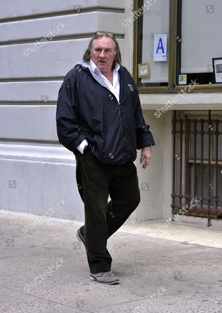 Editorial image of Gerard Depardieu and Roxanne Depardieu out and about, New York, America - 13 Apr 2013
