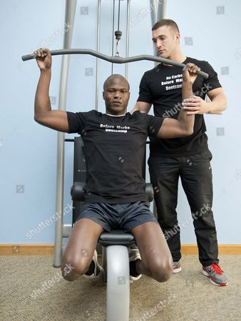 Big Brother Winner Brian Belo Gets Some One To One Training With Trainer Anthony Hill At The 'no Carbs Before Marbs' Fitness Bootcamp At The Crowne Plaza Spa In Colchester.