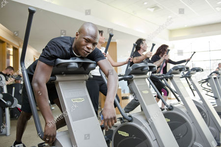 Big Brother Winner Brian Belo Runs Out Of Steam On The Cross Trainer At The 'no Carbs Before Marbs' Fitness Bootcamp At The Crowne Plaza Spa In Colchester.