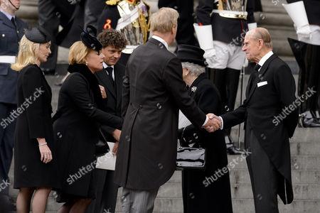 Sarah Thatcher, Carol Thatcher, Mark Thatcher, Queen Elizabeth II and Prince Philip