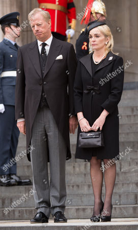 Mark Thatcher and Sarah Thatcher outside St Paul's Cathedral after the service