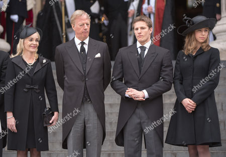 Sarah Thatcher, Mark Thatcher, Michael Thatcher and Amanda Thatcher outside St Paul's Cathedral
