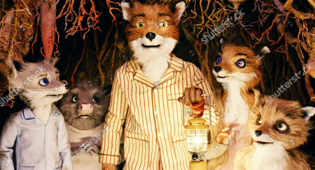 Stock Photo of Fantastic Mr Fox - Jason Schwartzman as the voice of Ashley Soan, George Clooney as the voice of Mr Fox, Meryl Streep as the voice of Mrs Fox and Eric Chase Anderson as the voice of Kristofferson