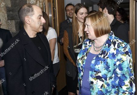 David S Goyer (writer) with Edwina Hart, MBE, Minister for Economy, Science and Transport