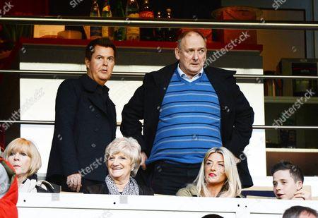 (Top row) Simon Fuller and Ted Beckham, (front row) Jackie Adams, Sandra Beckham, Joanne Beckham and Brooklyn Beckham