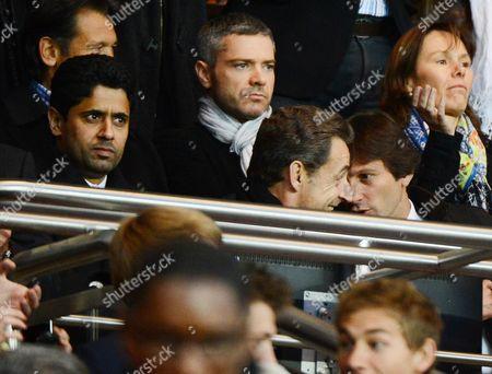 Nasser Al-Khelaifi, Nicolas Sarkozy and PSG sport director Leonardo Araujo