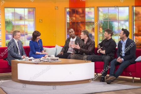 Aled Jones and Lorraine Kelly with Blue - Simon Webbe, Lee Ryan, Duncan James and Antony Costa