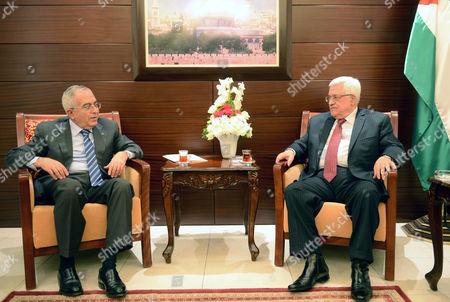 Palestinian Prime Minister Salam Fayyad and Palestinian President Mahmoud Abbas