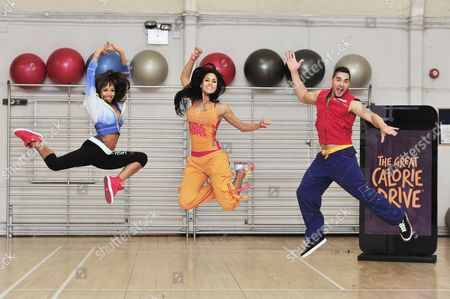 Stock Photo of Jade Ewen, Vicky Zagarra and Louis Smith MBE