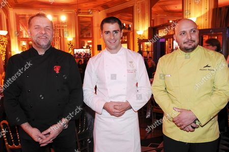 Stock Image of Philippe Renard, Head of Lutetia, Christopher Axe, Head of Ambassadors (Crillon Hotel) and Christian Sinicropi of Hotel Martinez During the Dinner