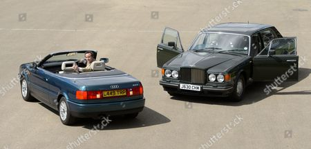 Stock Picture of A 1991 Bentley Turbo RL once owned by Prince Charles and a 2.5l Audi Quatro once owned Princess Diana