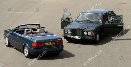 Stock Image of A 1991 Bentley Turbo RL once owned by Prince Charles and a 2.5l Audi Quatro once owned Princess Diana
