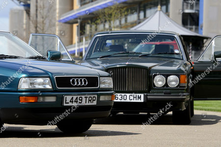 Stock Photo of A 1991 Bentley Turbo RL owned by Prince Charles and a 2.5l Audi Quatro once owned by Princess Diana