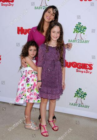 Stock Image of Soleil Moon Frye with daughters Poet Sienna Rose Goldberg Jagger Joseph Blue Goldberg