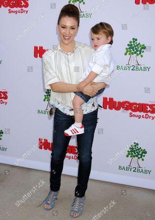 Stock Picture of Alyssa Milano and son Milo Bugliari