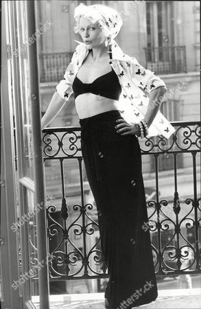 Fashion Women 1972 Model Wearing Karl Largerfeld Fashions.